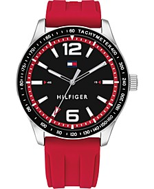 Men's Red Silicone Strap Watch 44mm, Created for Macy's