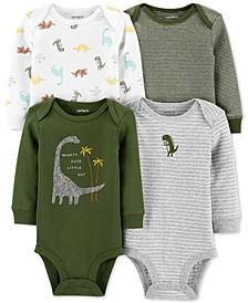 Baby Boys 4-Pk. Dinosaur-Print Cotton Bodysuits
