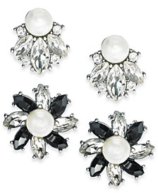 Silver-Tone 2-Pc. Set Crystal, Stone & Imitation Pearl Cluster Stud Earrings, Created For Macy's