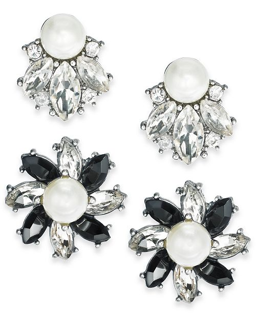 Charter Club Silver-Tone 2-Pc. Set Crystal, Stone & Imitation Pearl Cluster Stud Earrings, Created for Macy's