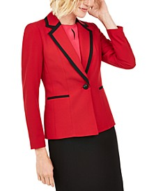 Contrast-Trim Single-Button Blazer