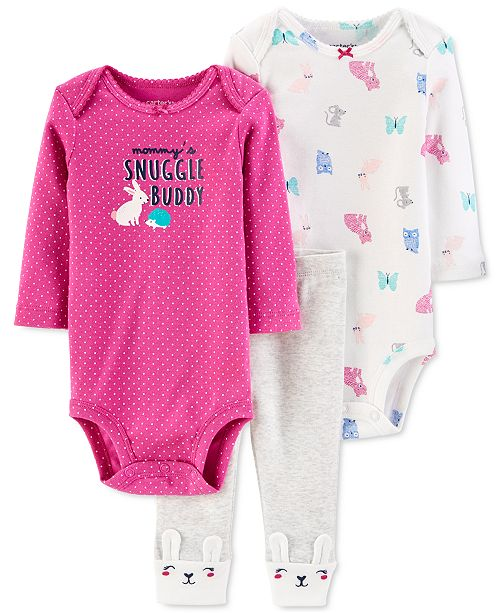 Carter's Baby Girls 3-Pc. Cotton Bunny Bodysuits & Pants Set
