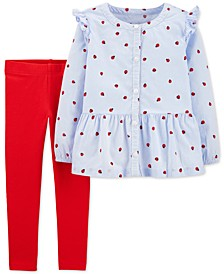 Baby Girls 2-Pc. Ladybug-Print Top & Leggings Set