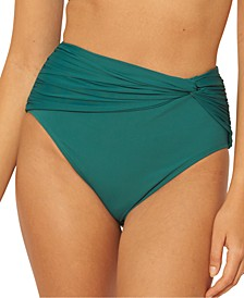 Solid Twisted High-Waist Bikini Bottoms