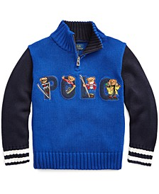 Toddler Boys Bear Cotton Half-Zip Sweater