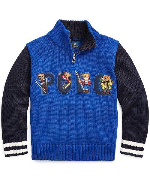 Polo Ralph Lauren Little Boys Bear Cotton Half Zip Sweater
