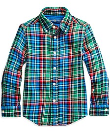 Toddler Boys Plaid Cotton Twill Shirt, Created For Macy's