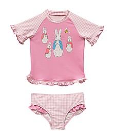 Toddler Girls Gingham Print Rash Guard Two Piece Swimsuit