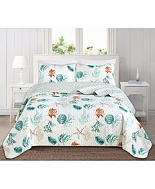 Great Bay Home Key West Collection Coastal 3-Piece Quilt Set, Full/Queen