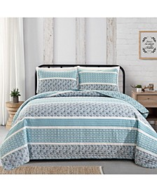 Great Bay Home Kadi Collection Striped 3-Piece Quilt Set, Full/Queen