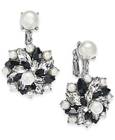 Silver-Tone Crystal, Stone & Imitation Pearl Cluster Clip-On Stud Drop Earrings, Created For Macy's