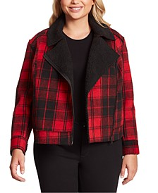 Plus Size Fleetwood Sherpa Moto Jacket