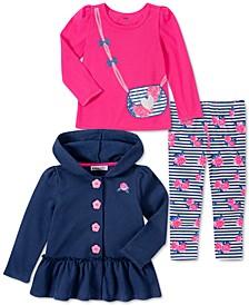Baby Girls 3-Pc. Hooded Fleece Jacket, T-Shirt & Leggings Set