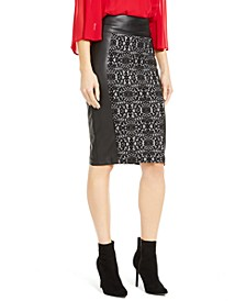 Faux-Leather-Panel Pencil Skirt, Created For Macy's