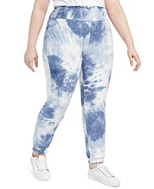 Derek Heart Trendy Plus Size Tie-Dyed Jogger Pants