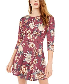 Juniors' Sparkle Floral-Print Fit & Flare Dress