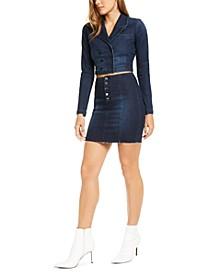 Remi Cropped Denim Blazer & Bodycon Denim Mini Skirt