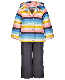Little Girls 2-Pc. Striped Jacket & Bib Snow Suit