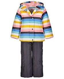 Little Girls 2-Pc. Striped Jacket & Bib Snow Suit