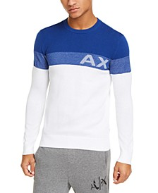 Men's Regular-Fit Colorblocked Stripe Logo Sweater, Created For Macy's