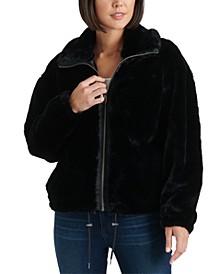 Faux-Fur Drawstring-Hem Jacket