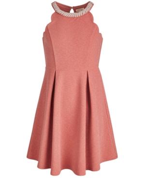Monteau Big Girls Imitation-Pearl Scalloped Sparkle Dress