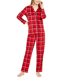 Women's Velour Notch-Collar Plaid Pajama Set, Online Only