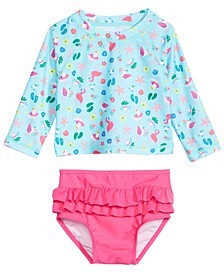 Baby Girls 2-Pc. Seagull-Print Rash Guard Swimsuit, Created For Macy's