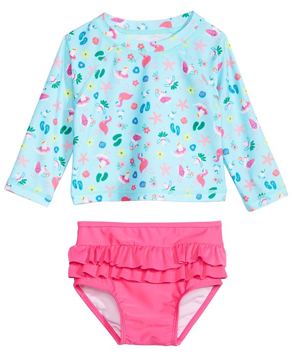 First Impressions Baby Girls 2-Pc. Seagull-Print Rash Guard Swimsuit, Created for Macy's