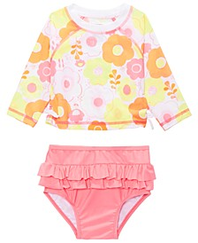 Baby Girls 2-Pc. Floral-Print Rash Guard Swimsuit, Created For Macy's