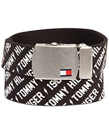 Big Boys Casual Printed Web Belt with Military-Inspired Plaque Buckle