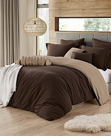 Ultra Soft Reversible Crinkle Duvet Cover Set - Full/Queen