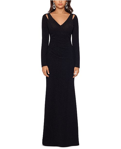 XSCAPE Glitter Cutout-Shoulder Gown