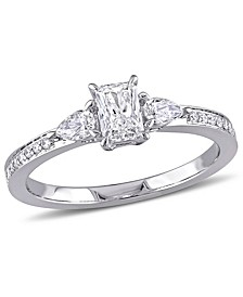 Radiant Cut Certified Diamond (5/8 ct. t.w.) 3-Stone Engagement Ring in 14k White Gold