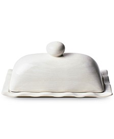 by Laura Johnson Signature White Ruffle Domed Butter Dish