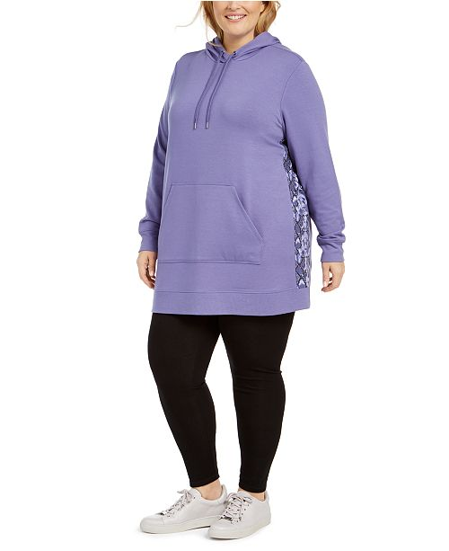 Ideology Plus Size Snakeskin Printed-Panel Hoodie, Created For Macy's