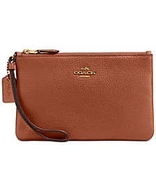 Boxed Small Wristlet in Polished Pebble Leather