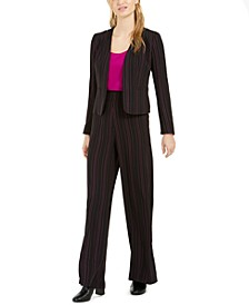 Striped Jacket, Scoop-Neck Camisole & Striped Wide Leg Pants, Created for Macy's