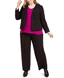 Trendy Plus Size Striped Jacket, V-Neck Blouse & Striped Pants, Created For Macy's