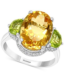 EFFY® Blue Topaz (8 1/6 ct. t.w.) & Diamond (1/6 ct. t.w.) Ring in 14k White Gold