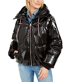 Shiny Hooded Puffer Coat