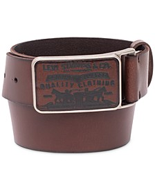 Men's Logo-Buckle Leather Belt
