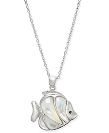"""Mother-of-Pearl Fish 18"""" Pendant Necklace Sterling Silver"""