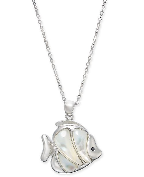 """Macy's Mother-of-Pearl Fish 18"""" Pendant Necklace Sterling Silver"""