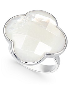 Mother-of-Pearl Clover Statement Ring in Sterling Silver