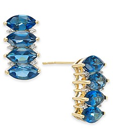Blue Topaz (4-3/8 ct. t.w.) & Diamond (1/10 ct. t.w.) Drop Earrings in 14k Gold