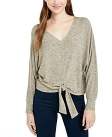 Juniors' Textured Tie-Front Sweater
