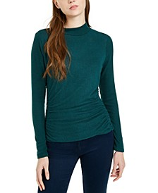 Juniors' Textured Side-Ruched Mock-Neck Sweater