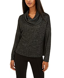 Juniors' Textured Cowlneck Sweater