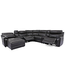 Hutchenson 7-Pc. Leather Chaise Sectional with 2 Power Recliners and 2 Consoles